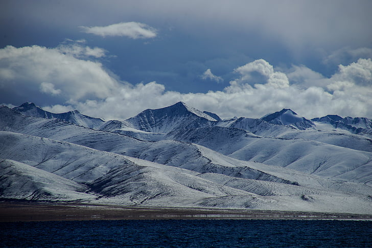 plateau, ciel bleu, montagnes enneigées du Tibet, montagne, nature, Lac, scenics
