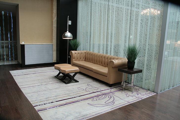 sofà, obrir, arquitectura, il·luminació, pura, cortines, relaxació