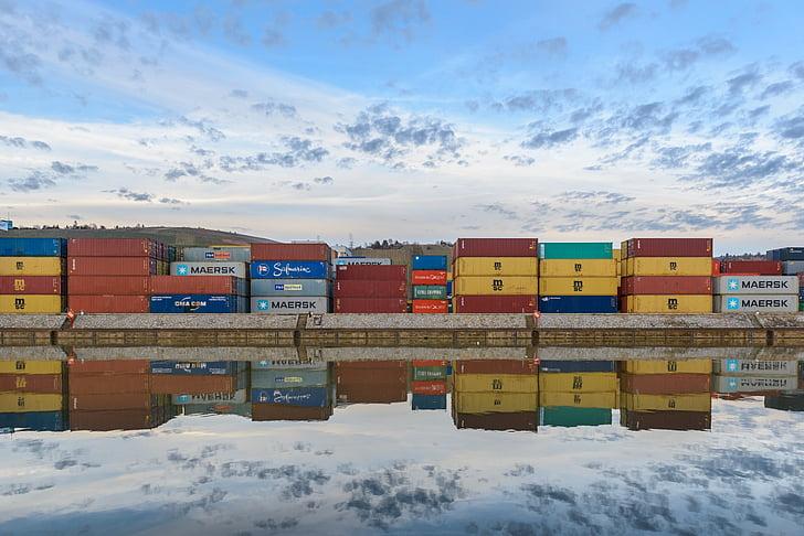 集装箱, 端口, 集装箱码头, 集装箱平台, 搬运货物, 集装箱装卸, neckar