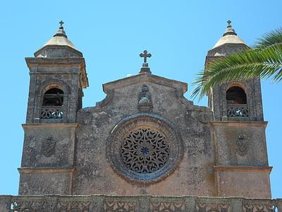 zarándokhely, Mallorca, templom, homlokzat, templom homlokzata, hit, vallás
