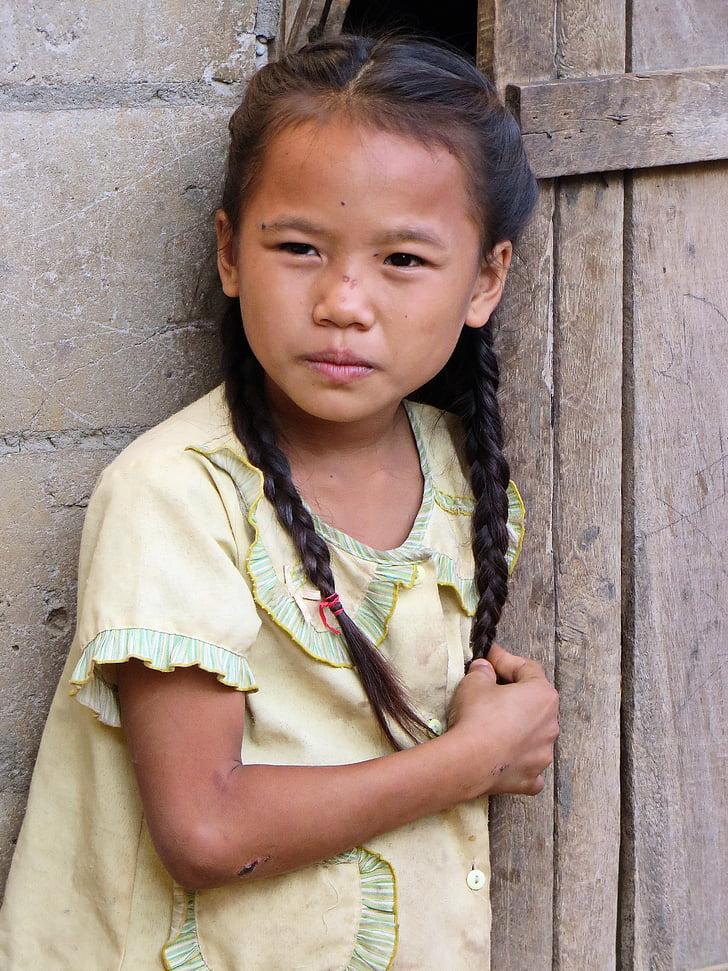 Laos, niña, Hmong-Mien, niño, aldea, infancia