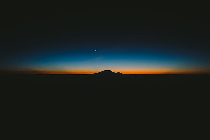 tamsus, kalnų, siluetas, saulėtekio, Saulėlydis