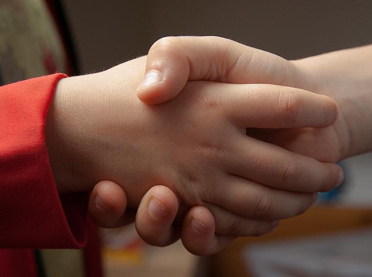 рукопожатие, Привет, Дружба, руки, дети, человеческая рука, ребенок