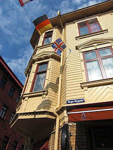 trä fasad, burspråk, Sverige, Göteborg, gamla stan, Downtown, byggnad