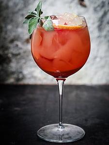 mahla, punane, lehed, esitlus, jää, klaas, joogid