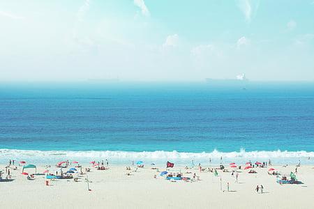 люди, Белый, песок, вблизи, тело, воды, океан