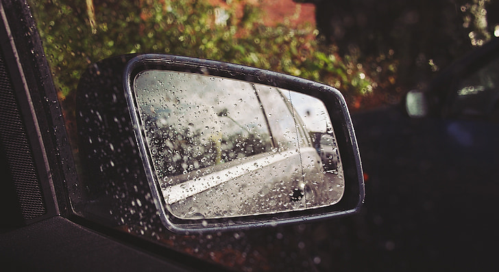 καθρέφτης αυτοκινήτου, βρέχει, βροχή, σταγόνες, υγρό