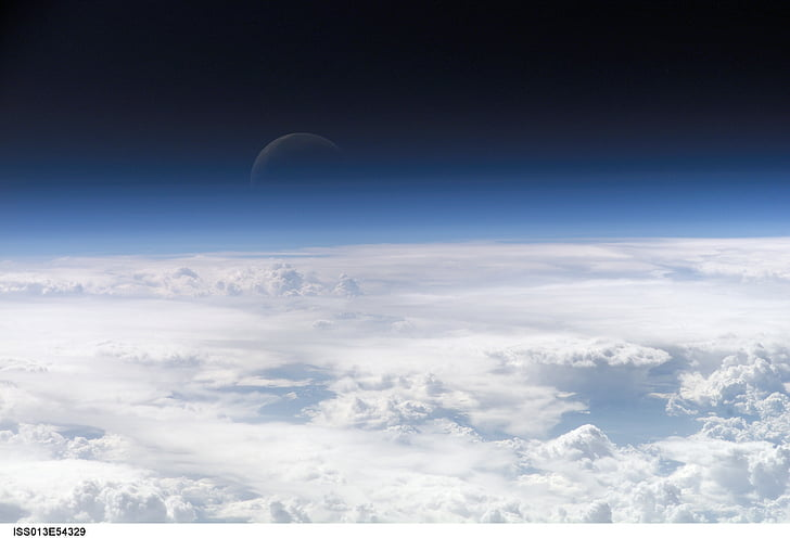 croissant de lune, bleu, SPACEVIEW, nuit, espace, Terre, nuages
