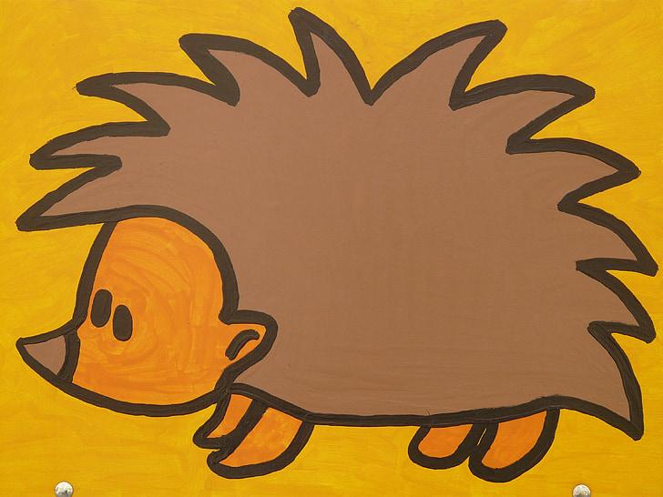 Eriçó, personatge de dibuixos animats, dibuix, divertit, imatge, animal, figura