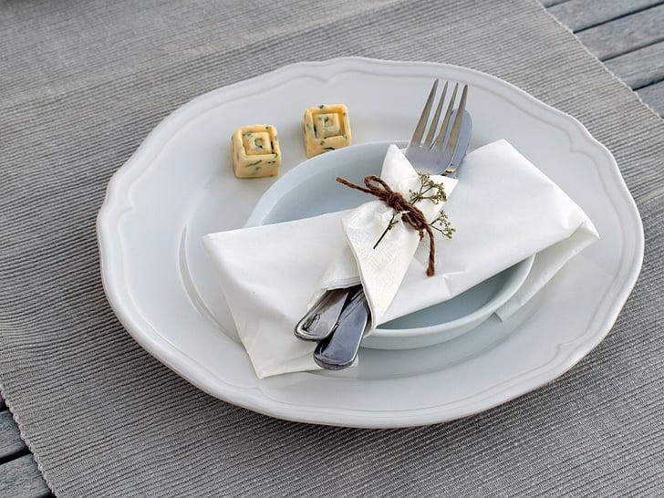coberta, placa, coberts, menjar, Junta, ganivet, forquilla