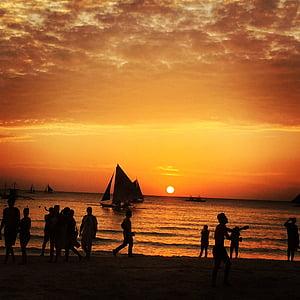 Boracay, Filipinai, Saulėlydis, Buriavimas, oranžinis dangus