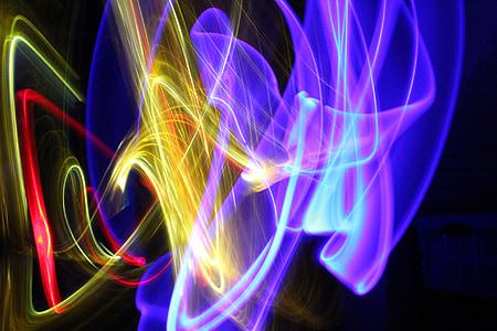 tuled, valgus, Värviline, abstraktne, meeleolu, pika säriajaga, valgus tunneli