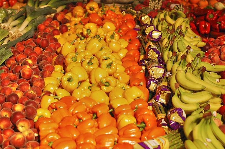greengrocers, augļi, banānu, sparģeļi, pipari, dzeltena, dārzeņi
