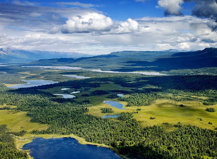Alaska, Denali, riu, l'aigua, Llac, paisatge, cel