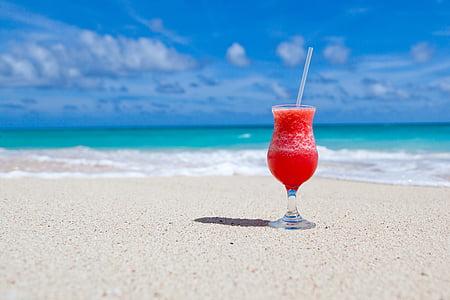 비치, 음료, 음료, 마시는 유리, 과일 쉐이크, 바다, 모래