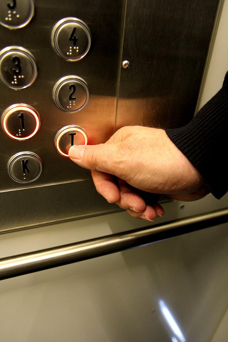 Lift, épület, Elérhetőség, push, kéz