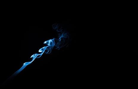 røyk, sigarett, røyking, brann, røykere hjørne, svart bakgrunn, blå