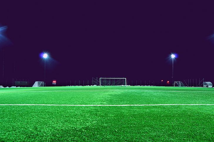 evening, field, football field, goal, grass, green, ground