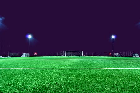 nit, camp, camp de futbol, objectiu, herba, verd, terra
