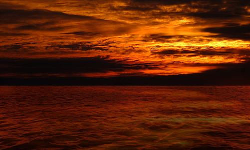 posta de sol, Afterglow, paisatge, torna la llum, cel de nit, núvols, Mar
