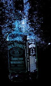 l'alcohol, ampolla, beguda, gat de daniel, licor, whisky, líquid
