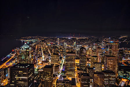 city, night, urban, streetlights, cityscape, night city, skyscraper