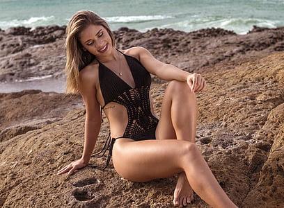 пляж, Красивий, задоволення, мода, Дівчина, Щасливий, ноги