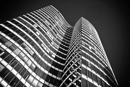 arhitektuur, pilvelõhkuja, Klaasfassaadid, kaasaegne, fassaad, hoone, Düsseldorf