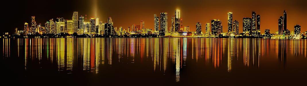 Miami, Florida, Centre, paisatge urbà, horitzó, màgic ciutat, gratacels