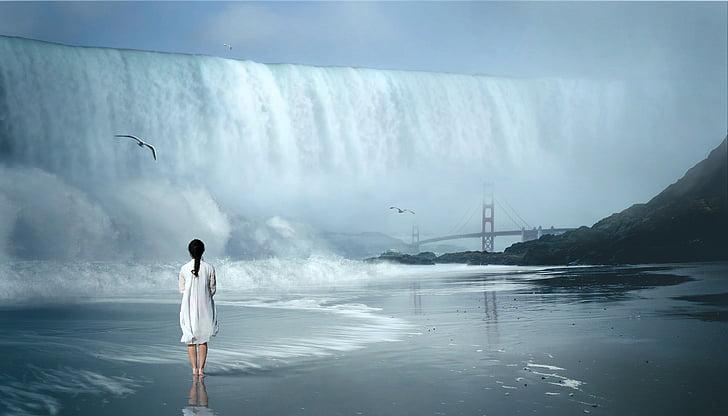 vízesés, hullám, fantasztikus, nő, természet, víz, táj