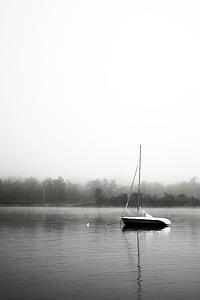 чорно-біла, човен, спокій, озеро, Мряка, тихий, брижі