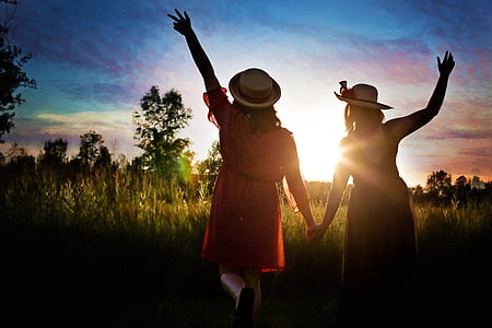 obris, precej žensk, večer, privlačna, na prostem, sončni zahod, ljudje