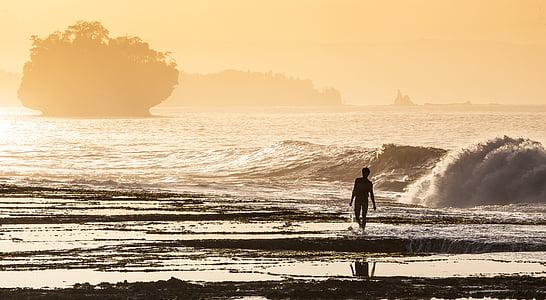 Costa, pescadors, Asahi, i, ona, agra Costa Daurada, l'oceà Índic