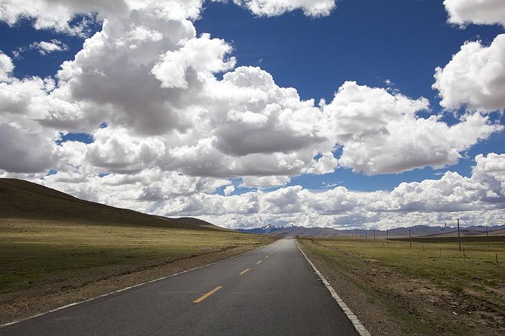 đường, khoảng cách, cảnh quan, chân trời, thẳng, căn hộ, quan điểm