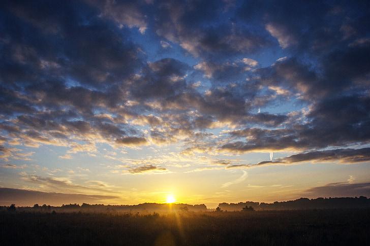 soluppgång, solen, landskap, solnedgång, naturen, Sky, Utomhus