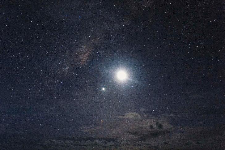foto, lua, estrelas, escuro, céu noturno, natureza, espaço