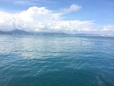 sanya, west island, the sea, blue sky and white clouds, sea water