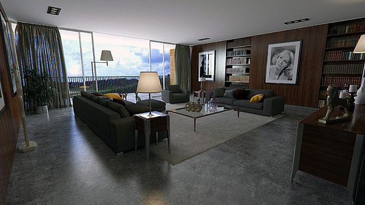 sala, Apartament, disseny d'interiors, disseny, luxe, moderna, Habitació interior