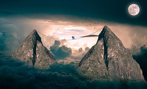 clouds, mountains, sky, blue sky, moon, fantasy, fairy tales