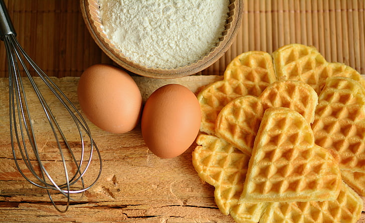 вафли, вафли се пекат, съставки, яйце, бъркани яйца, десерт, Печете