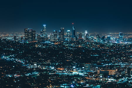 architecture, building, business, city, cityscape, crowded, evening
