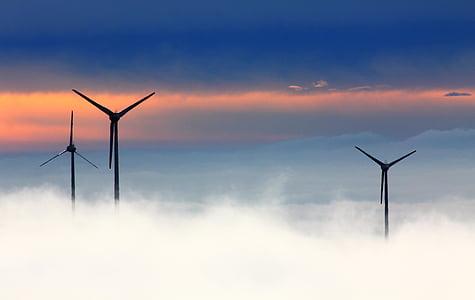 Üç, Rüzgar, Türbinler, Rüzgar enerjisi, Fichtelberg, Rüzgar park, sis