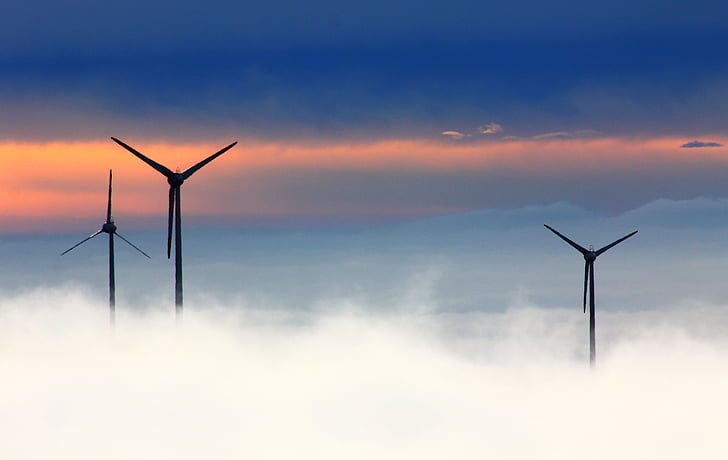 windräder, wind power, fichtelberg, wind park, fog, wind turbine, alternative energy