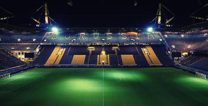 arquitectura, grades, herba, llums, camp d'esports, focus, Estadi