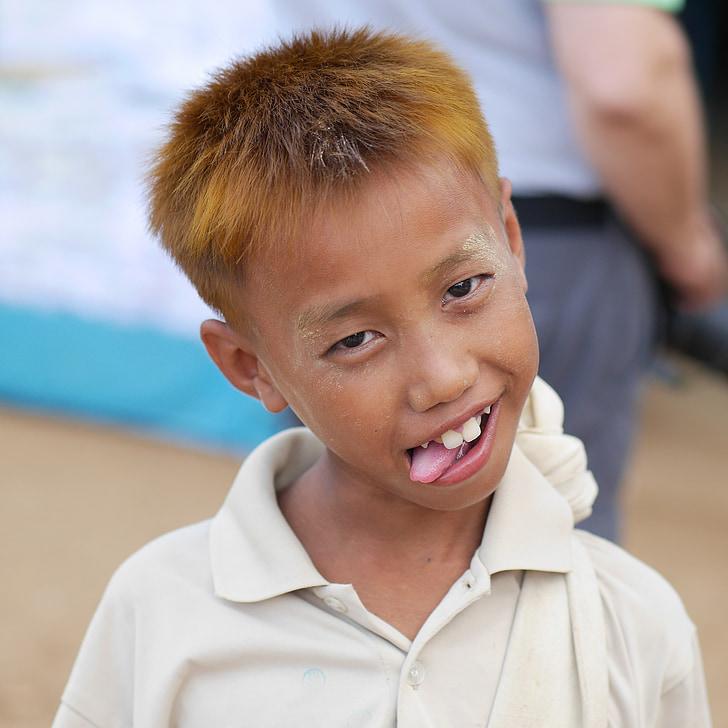 Tvorba tváre, chlapec, dieťa, Barma, Mjanmarsko