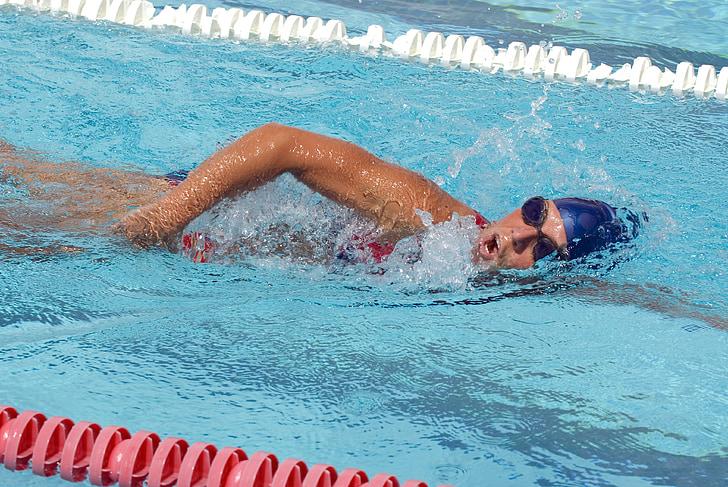 nedador, formació, l'aigua, piscina, ulleres, gorra, gimnàs