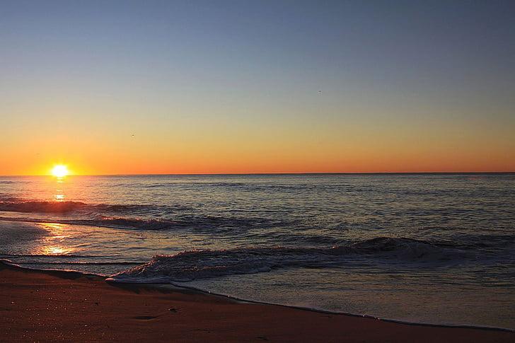 Beach, Sunrise, Daybreak, laine, liiv, taevas, loodus