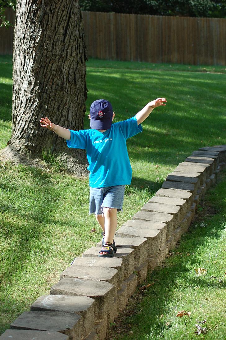 bức tường đá, trẻ em, đứa trẻ, đi bộ, cân bằng, cân bằng, Cap