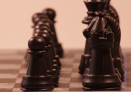 play, chess, figures, black, tower, chess game, figure