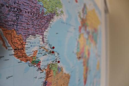 mapa, món, PIN, viatges, viatge, global, internacional